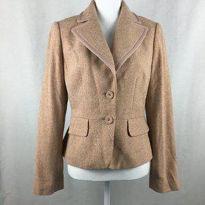 Ann Taylor Pink / Orange Tweed Button Up Blazer